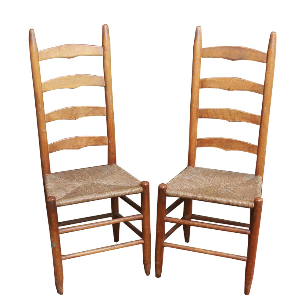 Pair Of Oak Ladder Back Chairs ...