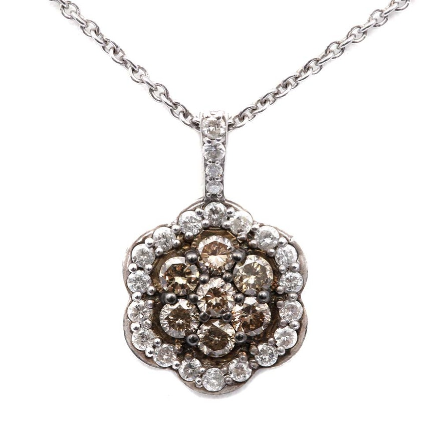 sterling silver diamond and chocolate diamond pendant. Black Bedroom Furniture Sets. Home Design Ideas