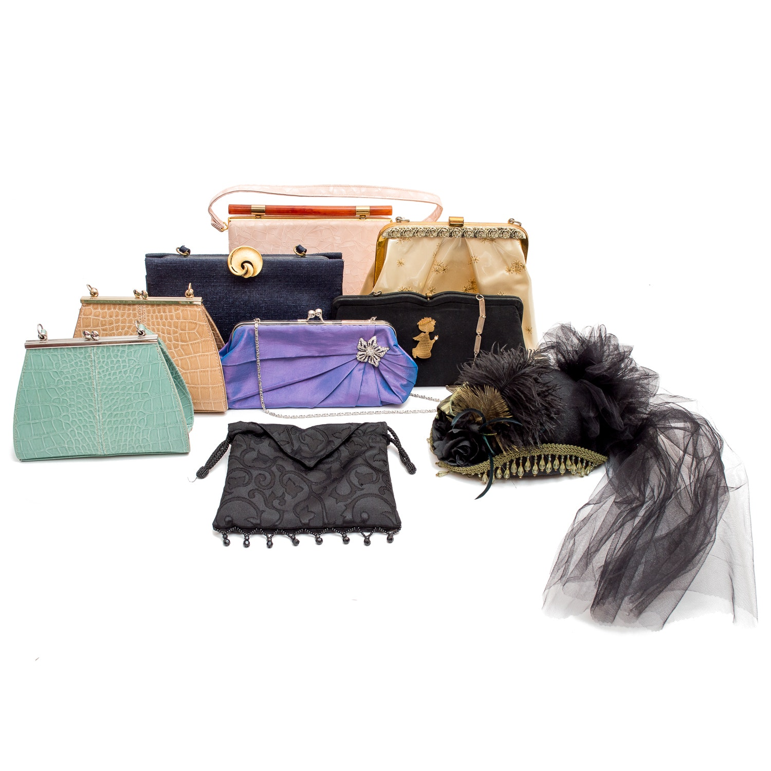 Assortment of Vintage Fashion Purses and Hat