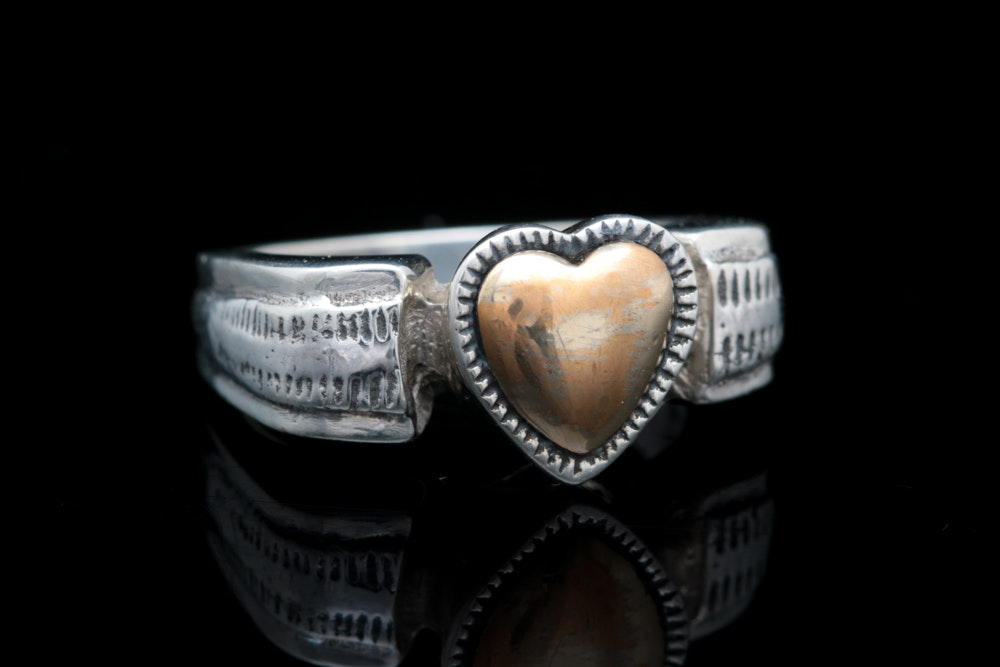Sterling Silver and 12K Yellow Gold Plated Heart Ring EBTH