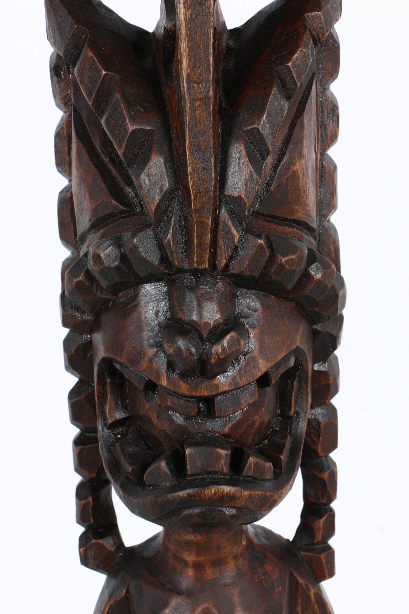 Hawaiian style carved wood lono sculpture ebth