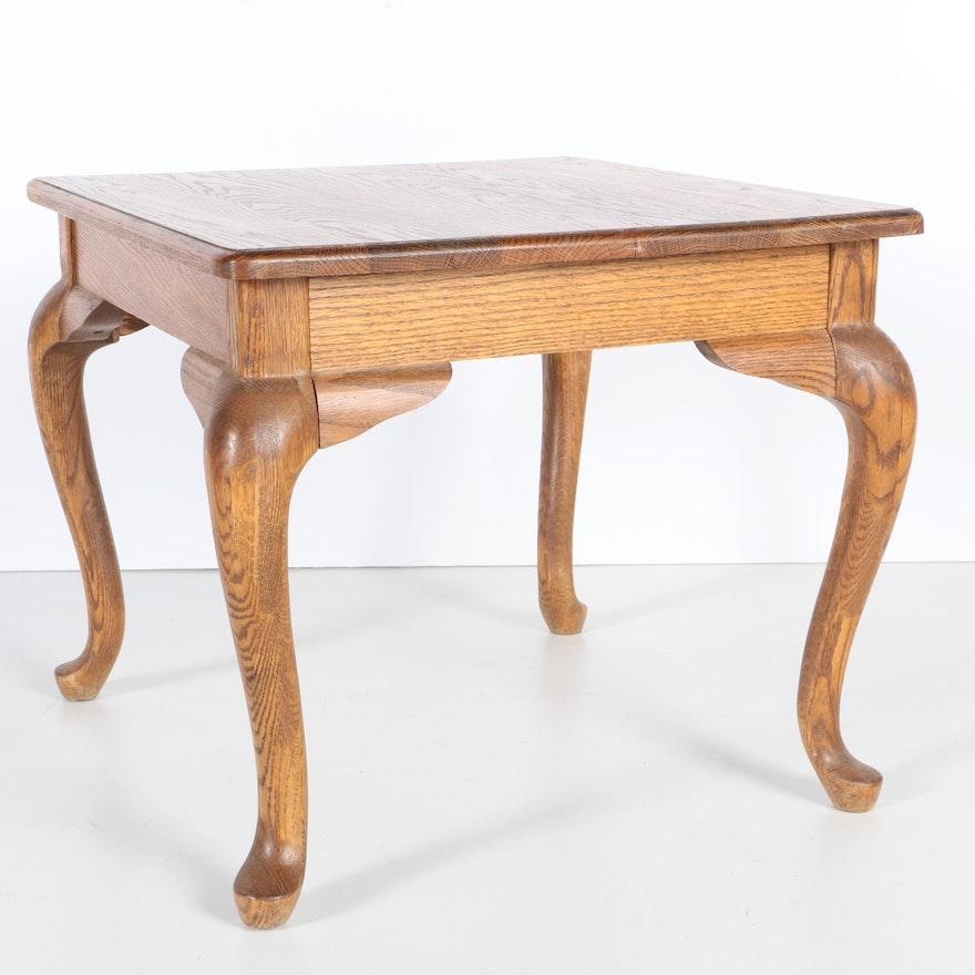 Vintage Queen Anne Style Oak Side Table