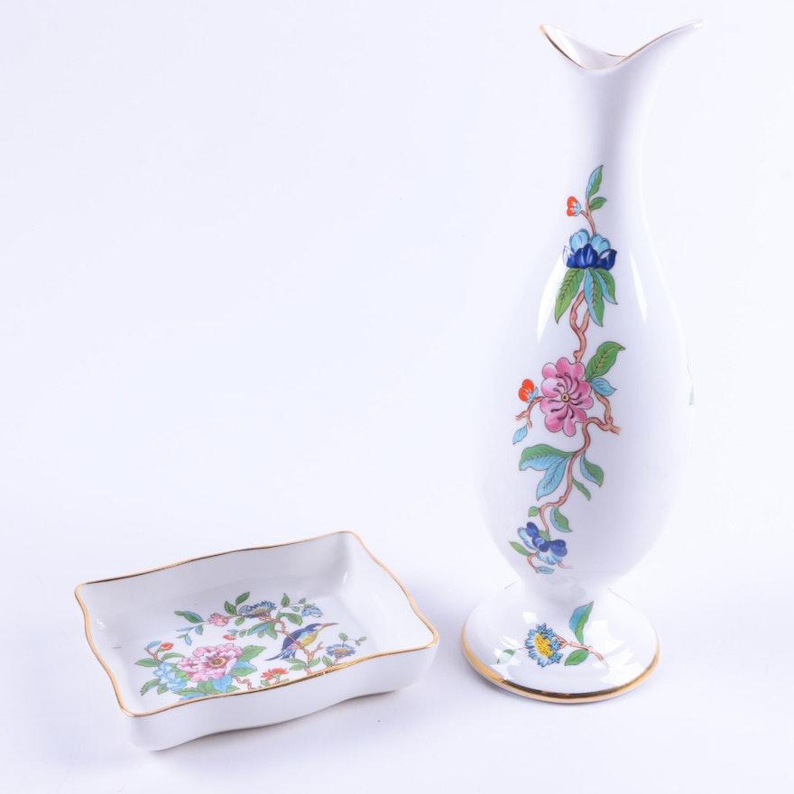 Aynsley Pembroke English Bone China Vase And Dish Ebth