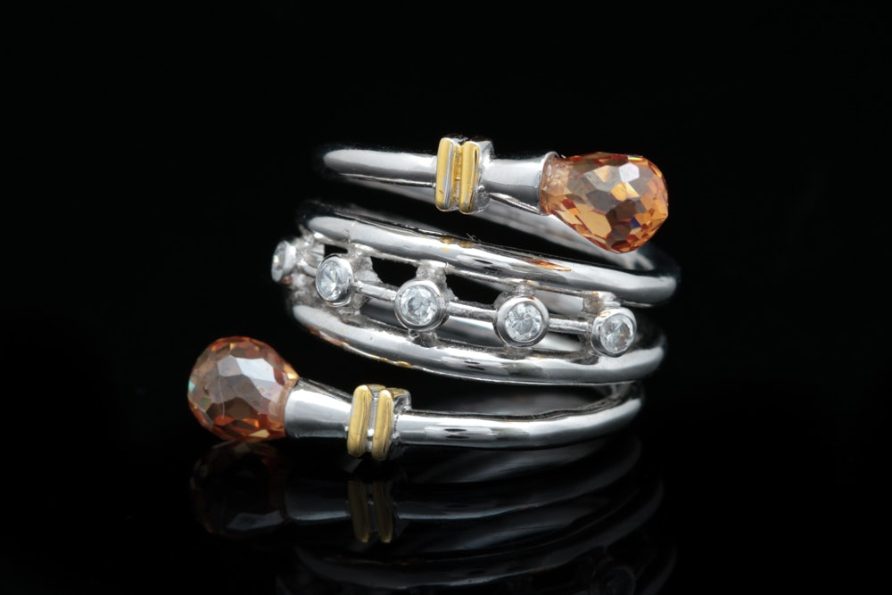 Sterling Silver, Orange and White Cubic Zirconia Ring