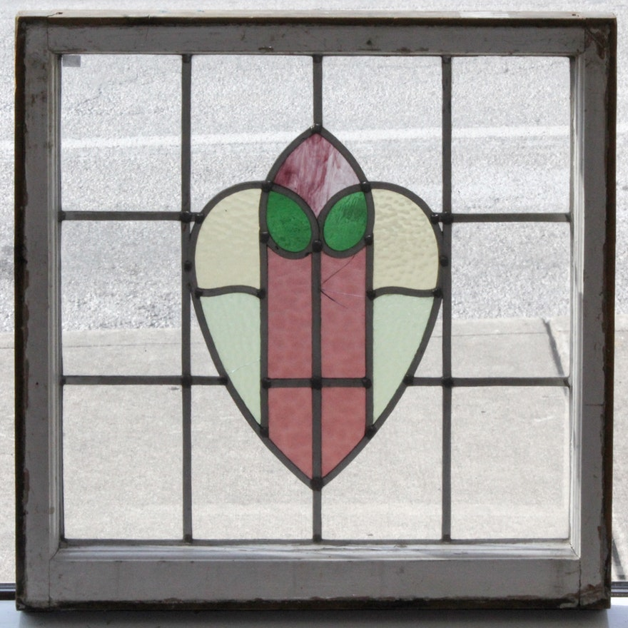 Vintage Framed Stained Glass Window : EBTH