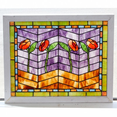 Floral Motif Stained Glass Window