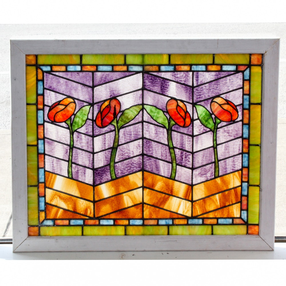 Vintage Framed Stained Glass Window