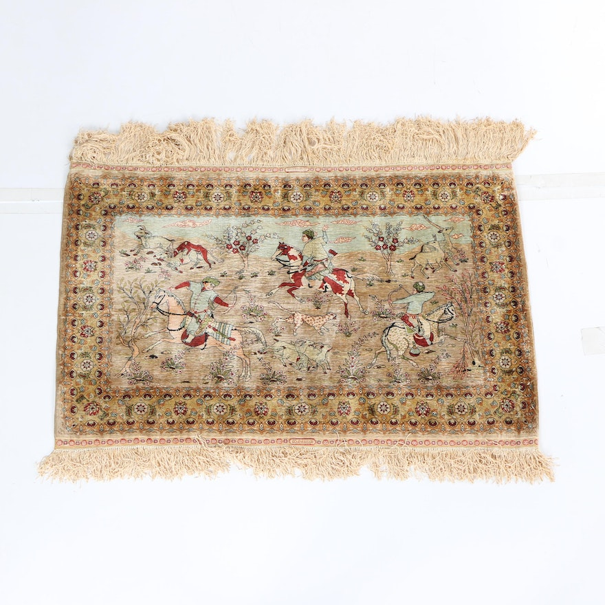 Hand-Knotted Signed Turkish Tabriz Style Pictorial Hunting