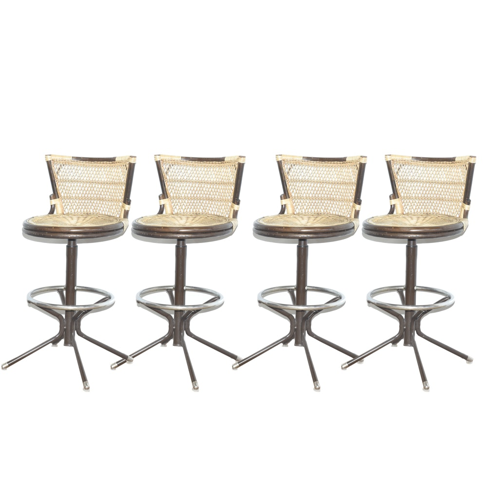 Mid Century Modern Cane And Rattan Bar Stools ...