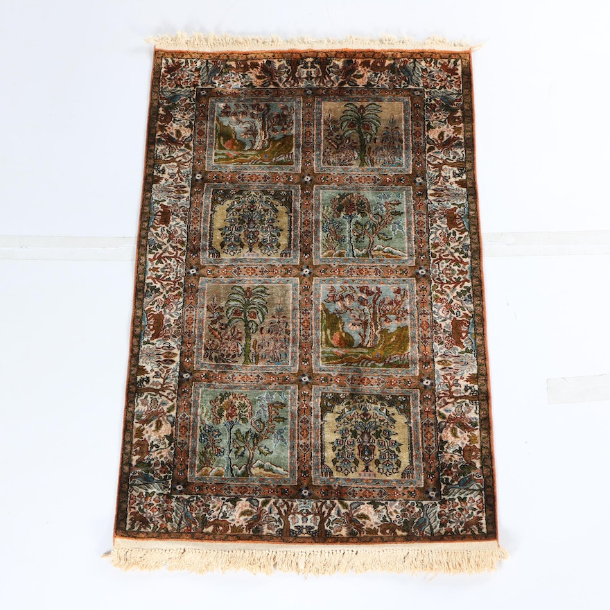 "Hand Knotted Persian Wool Area Rug Ebth: Hand-Knotted Silk And Wool Persian Qum ""Garden Of Paradise"
