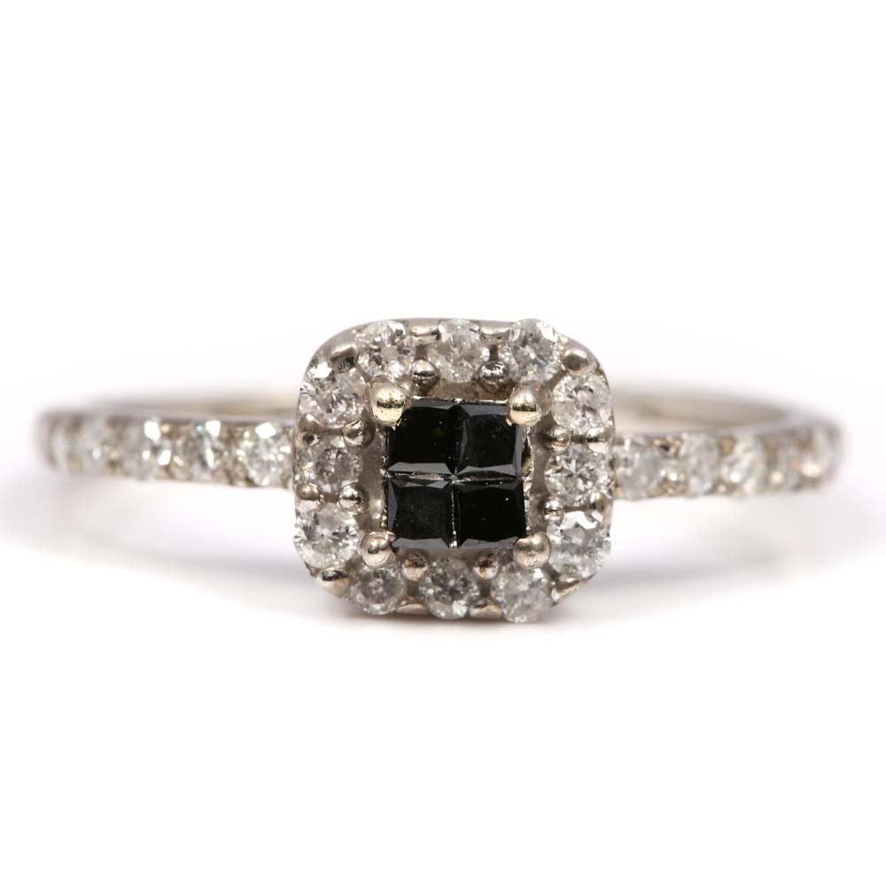 Sterling Silver Black Diamond with Diamond Halo Ring