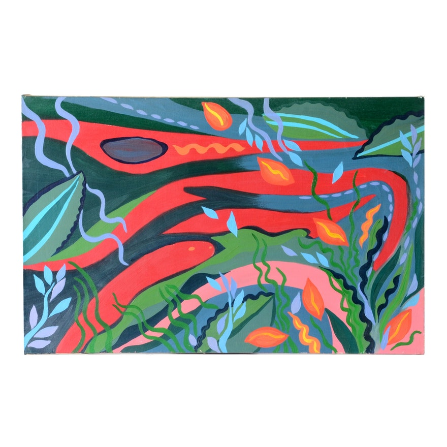 "Carol J. Mathews Orignal Oil Painting on Canvas ""Fish Tank"""
