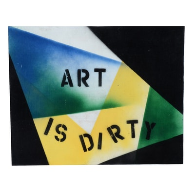"Carol J. Mathews Oil Painting on Board ""Art is Dirty"""