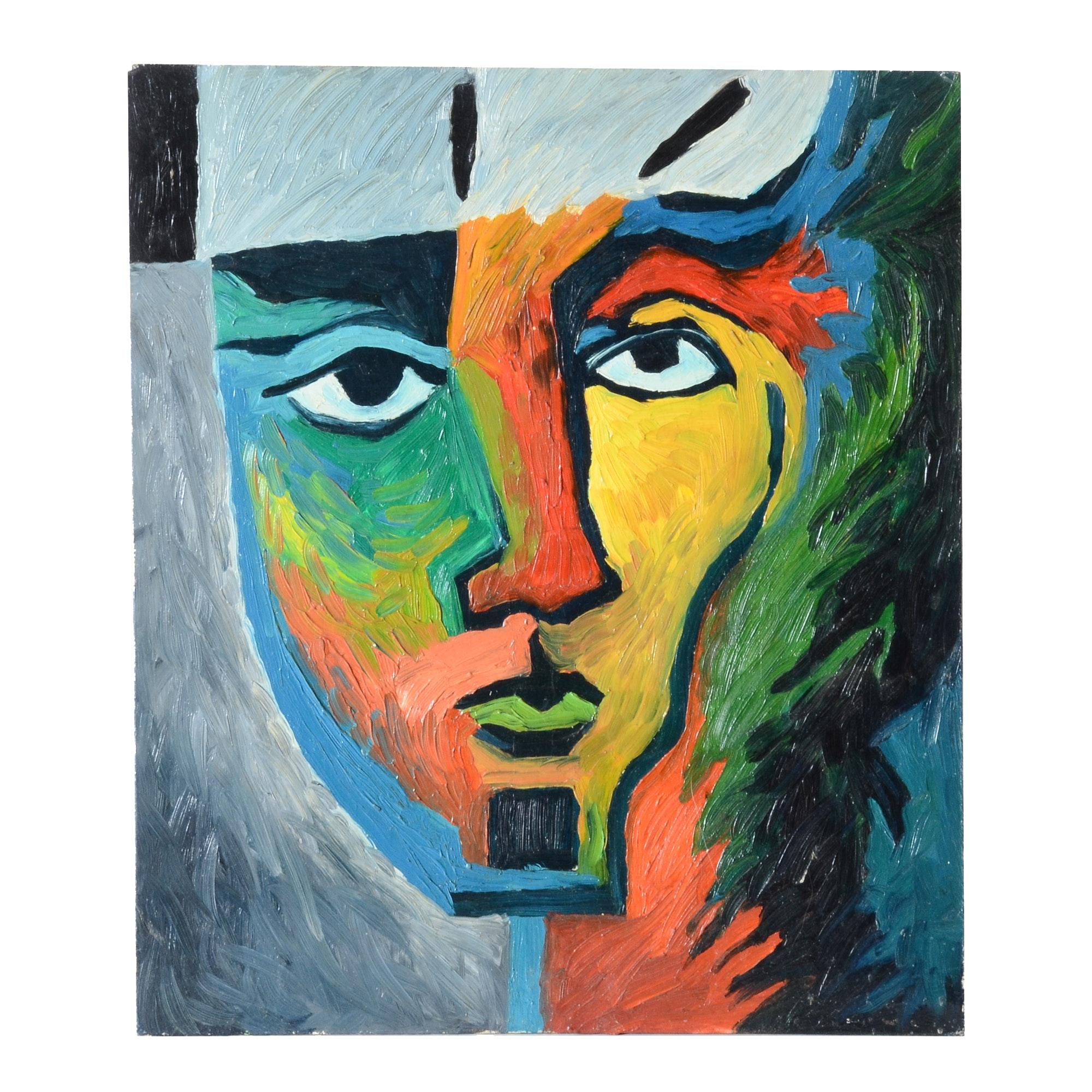 Carol J. Mathews Oil Painting of an Abstract Face