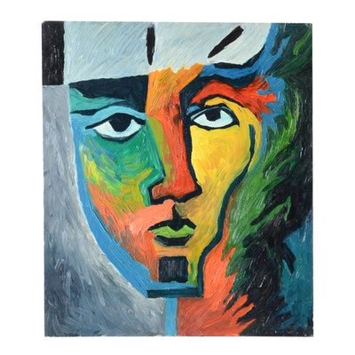 Carol J. Mathews Oil Painting of an Abstract Face