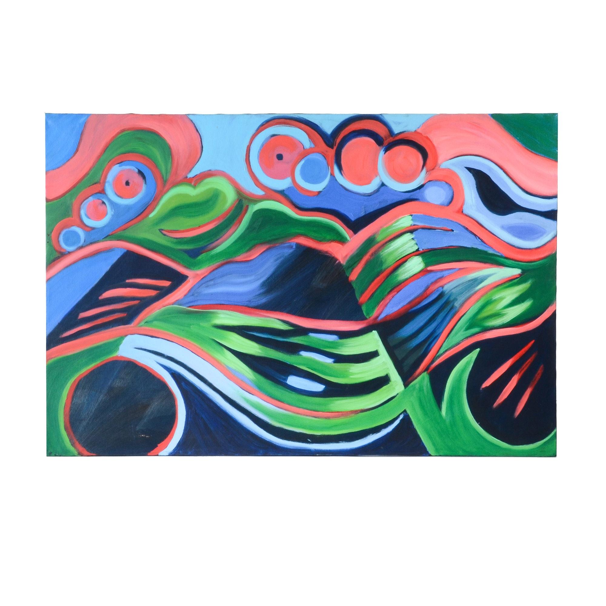 "Carol J. Mathews Original Oil Painting on Canvas ""Landscape"""