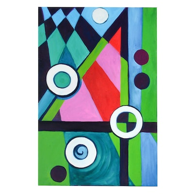 "Carol J. Mathews Original Abstract Oil Painting on Canvas of the Number ""4"""