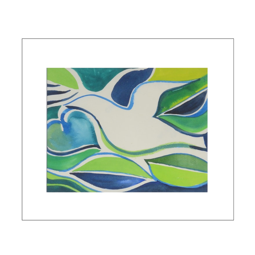 Carol J. Mathews Watercolor Painting of an Abstracted Bird