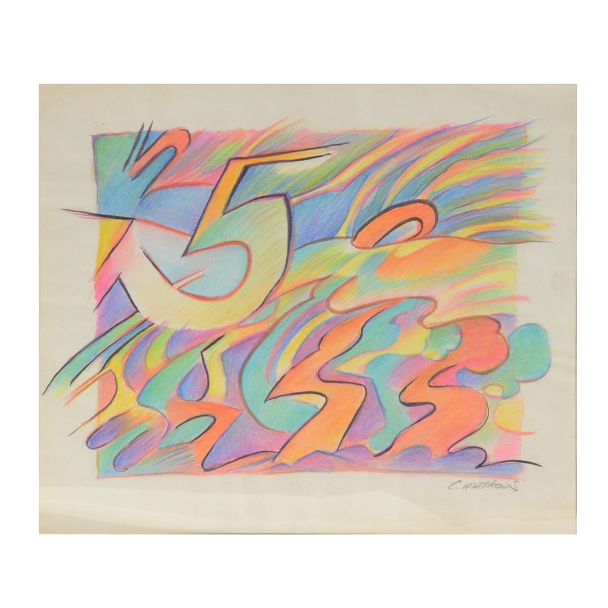 """Carol J. Mathews """"Number Series"""" Drawing"""