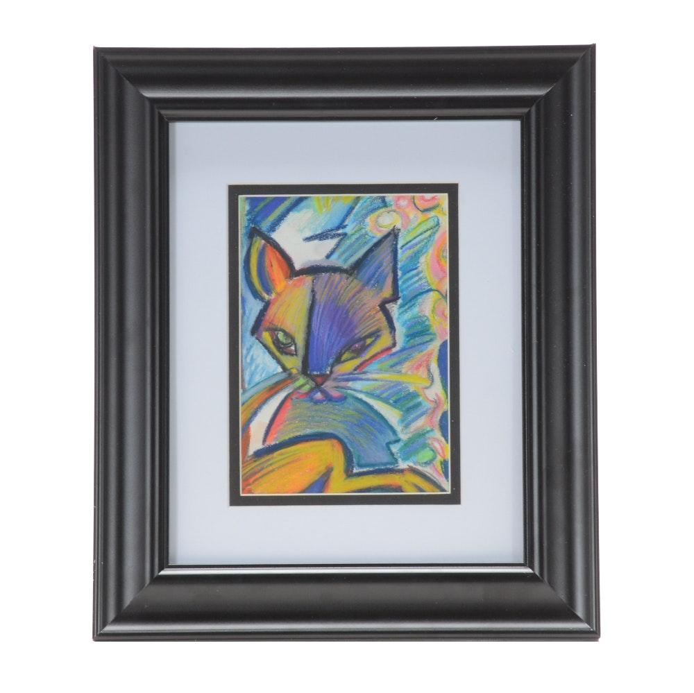 "Carol J. Mathews Pastel Drawing ""Got My Leg Caught by the Door"""