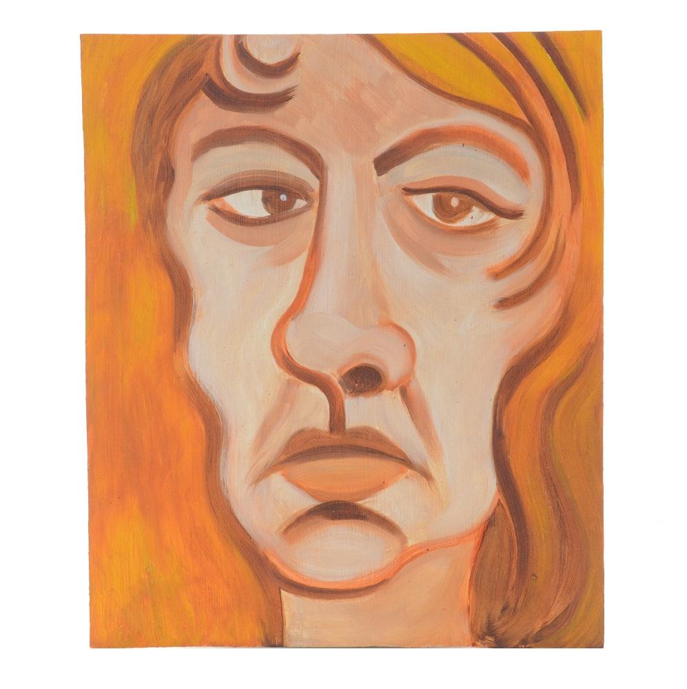 "Carol J. Mathews Oil Painting on Board ""Self Portrait"""