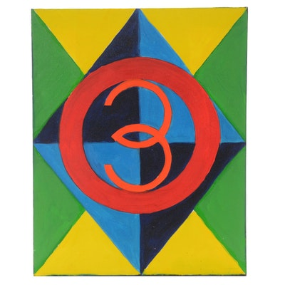 "Carol J. Mathews Original Abstract Oil Painting on Canvas of the Number ""3"""