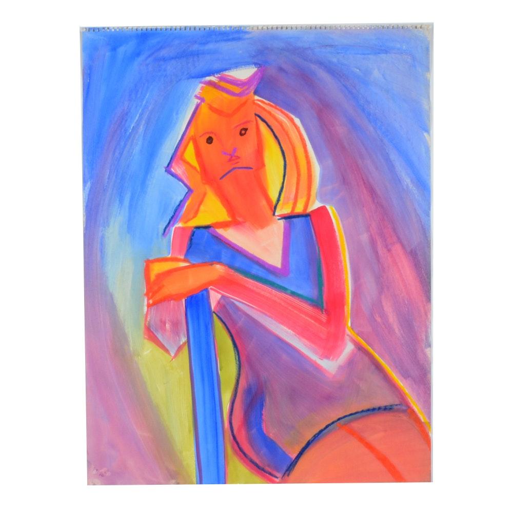 Carol J. Mathews Watercolor of an Abstracted Figure