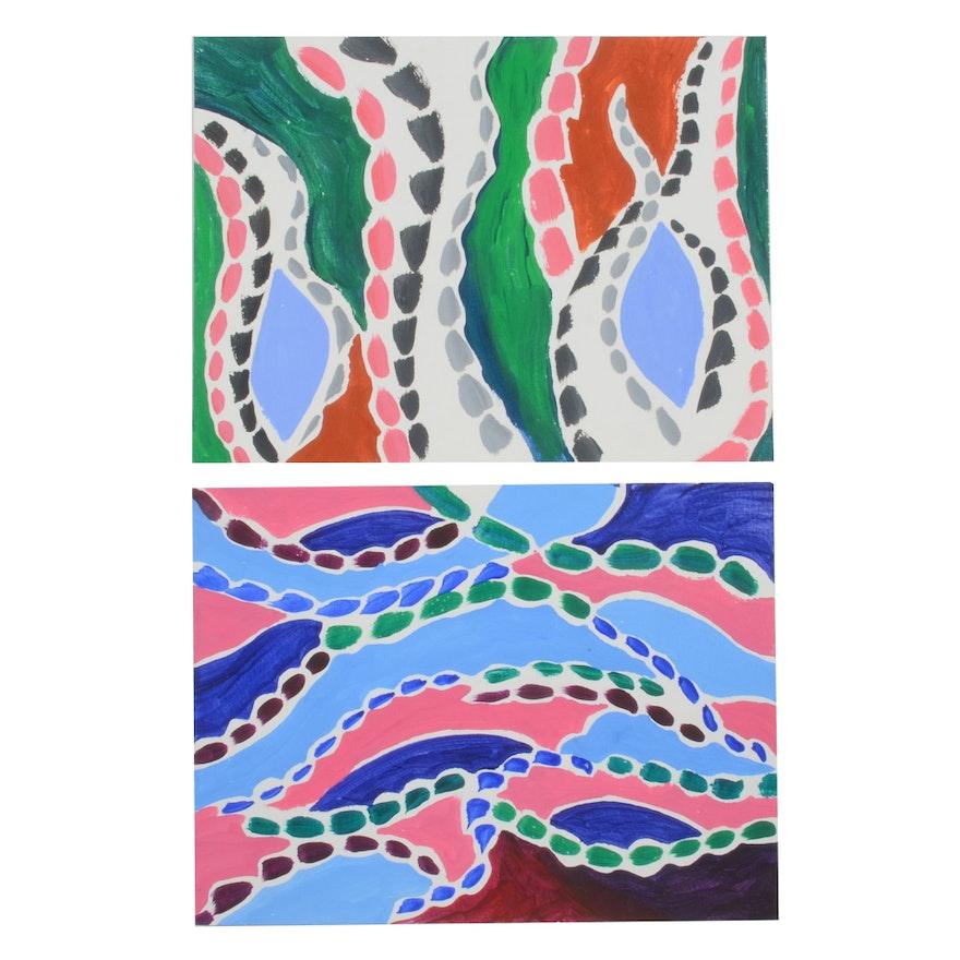 Carol J. Mathews Pair of Abstract Gouache Paintings