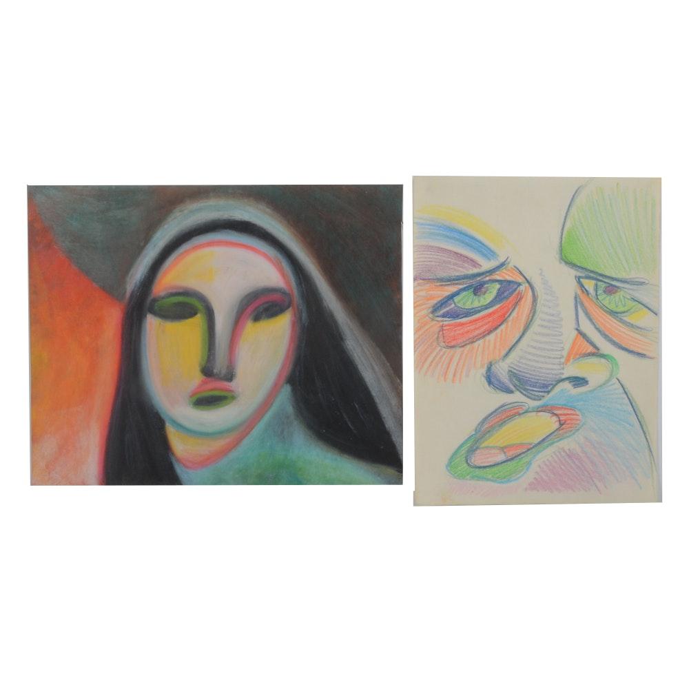 Carol J. Mathews Pair of Drawings of Surrealist Faces
