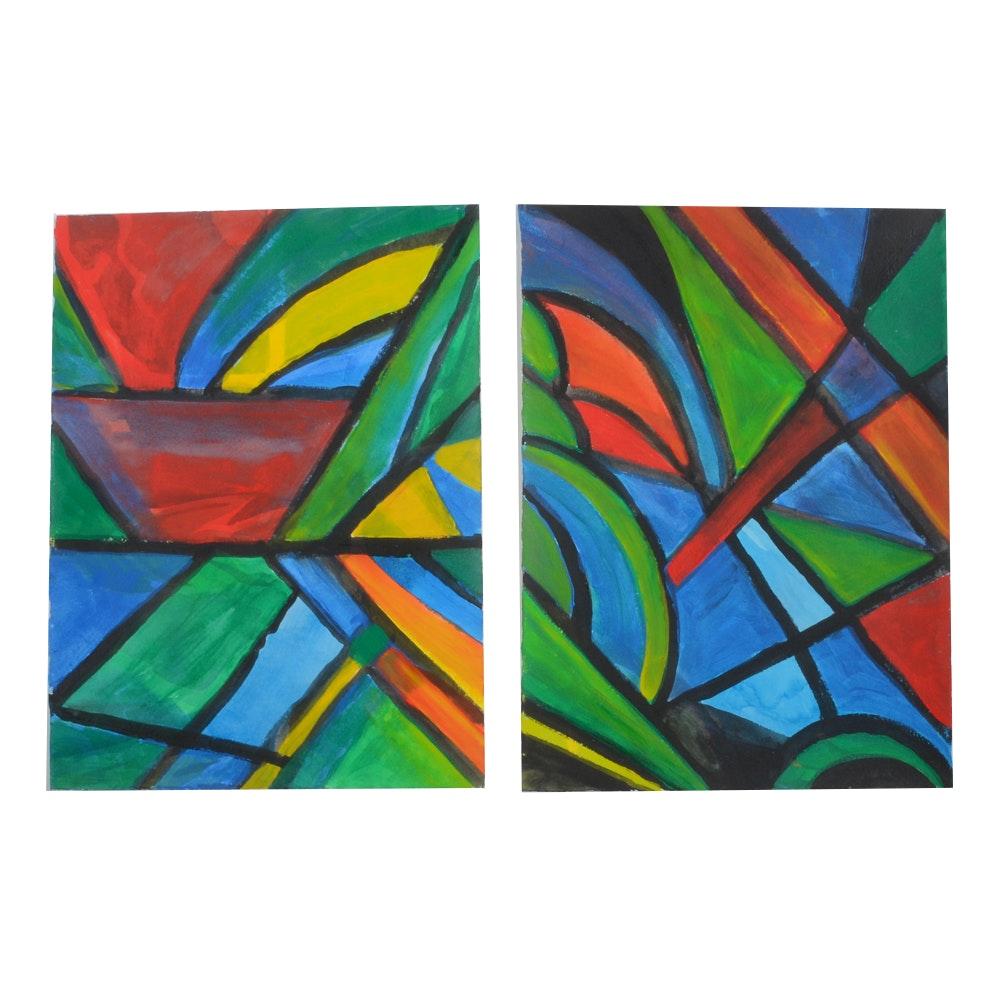 Carol J. Mathews Pair of Abstract Watercolor Paintings