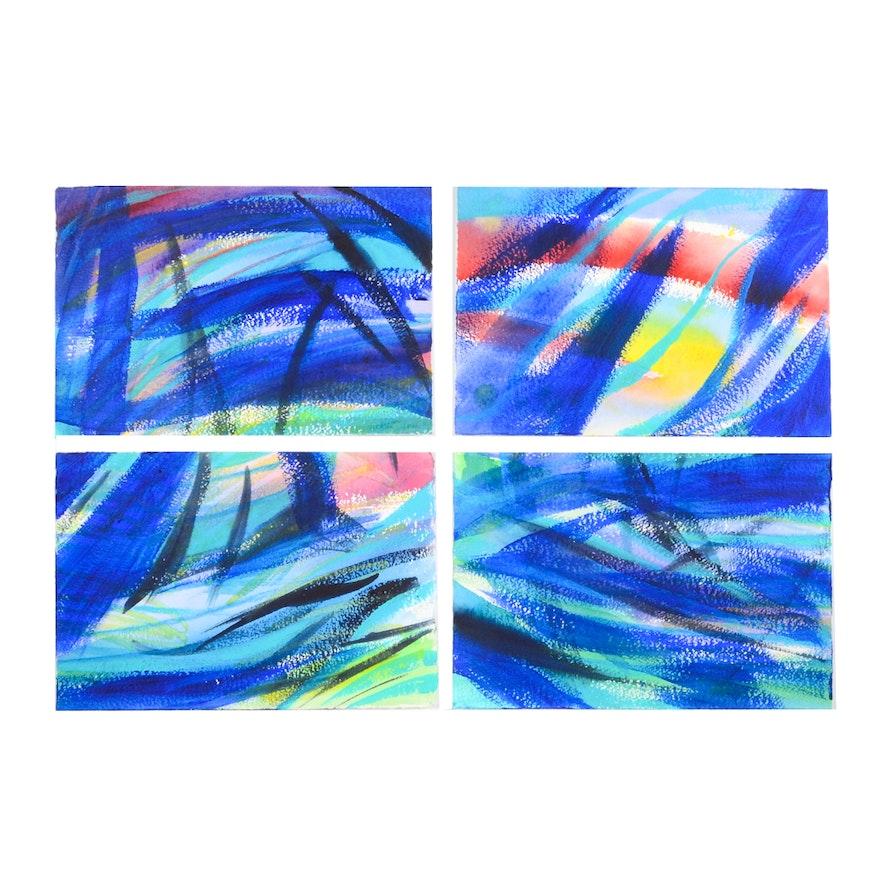 Carol J. Mathews Set of Abstract Watercolors