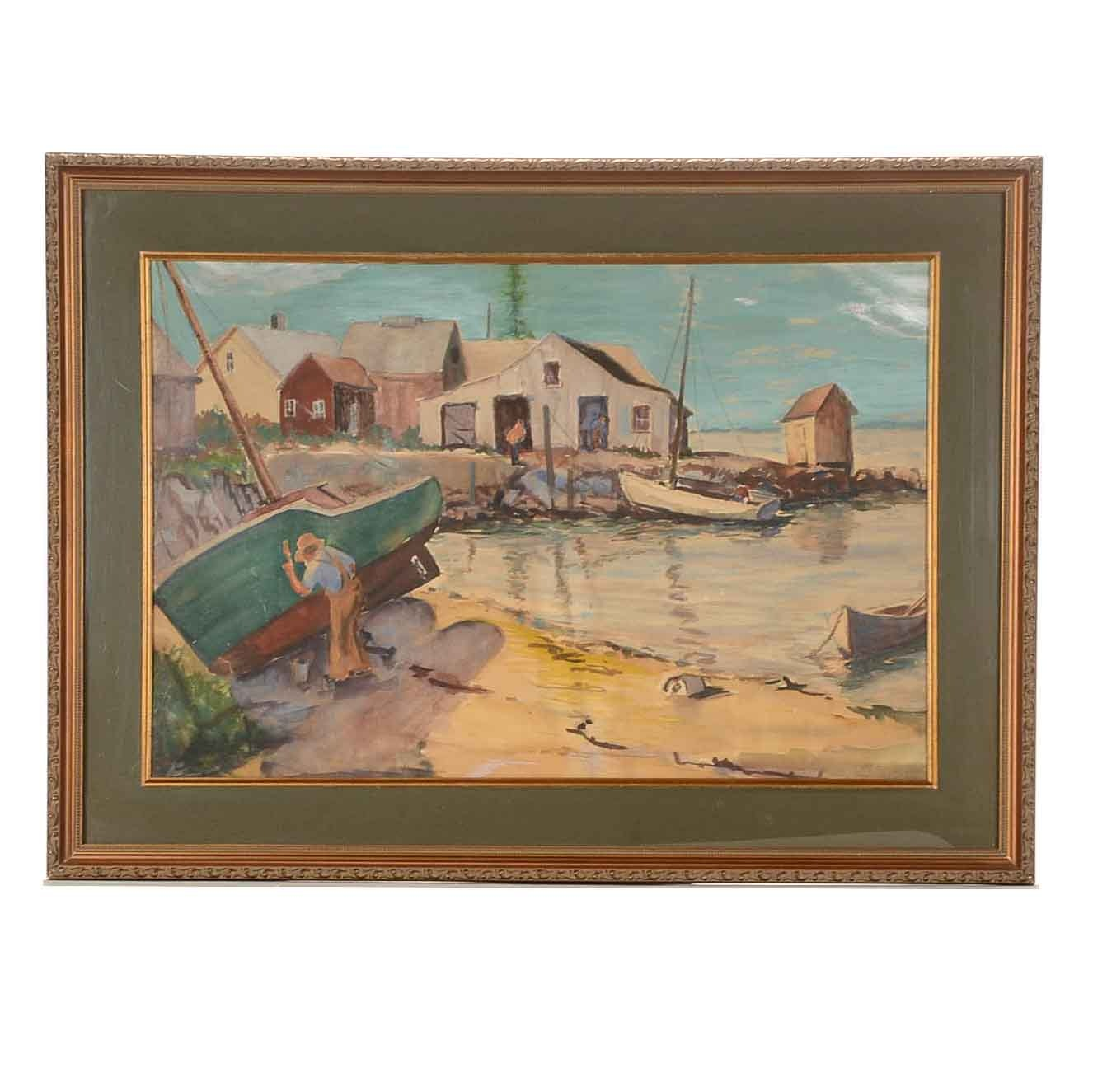 Melville Stark 1948 Watercolor Painting on Paper of Harbor Scene
