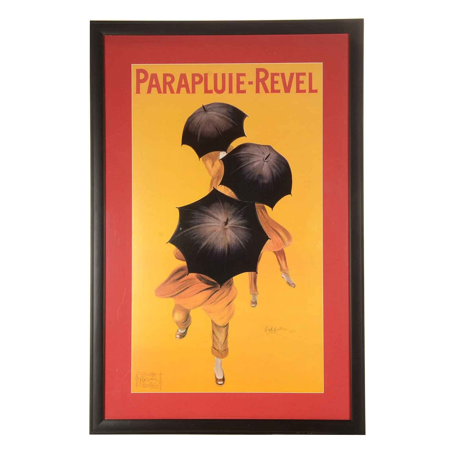 """Framed Offset Lithograph Poster after Leonetto Capiello """"Parapluie-Revel"""""""