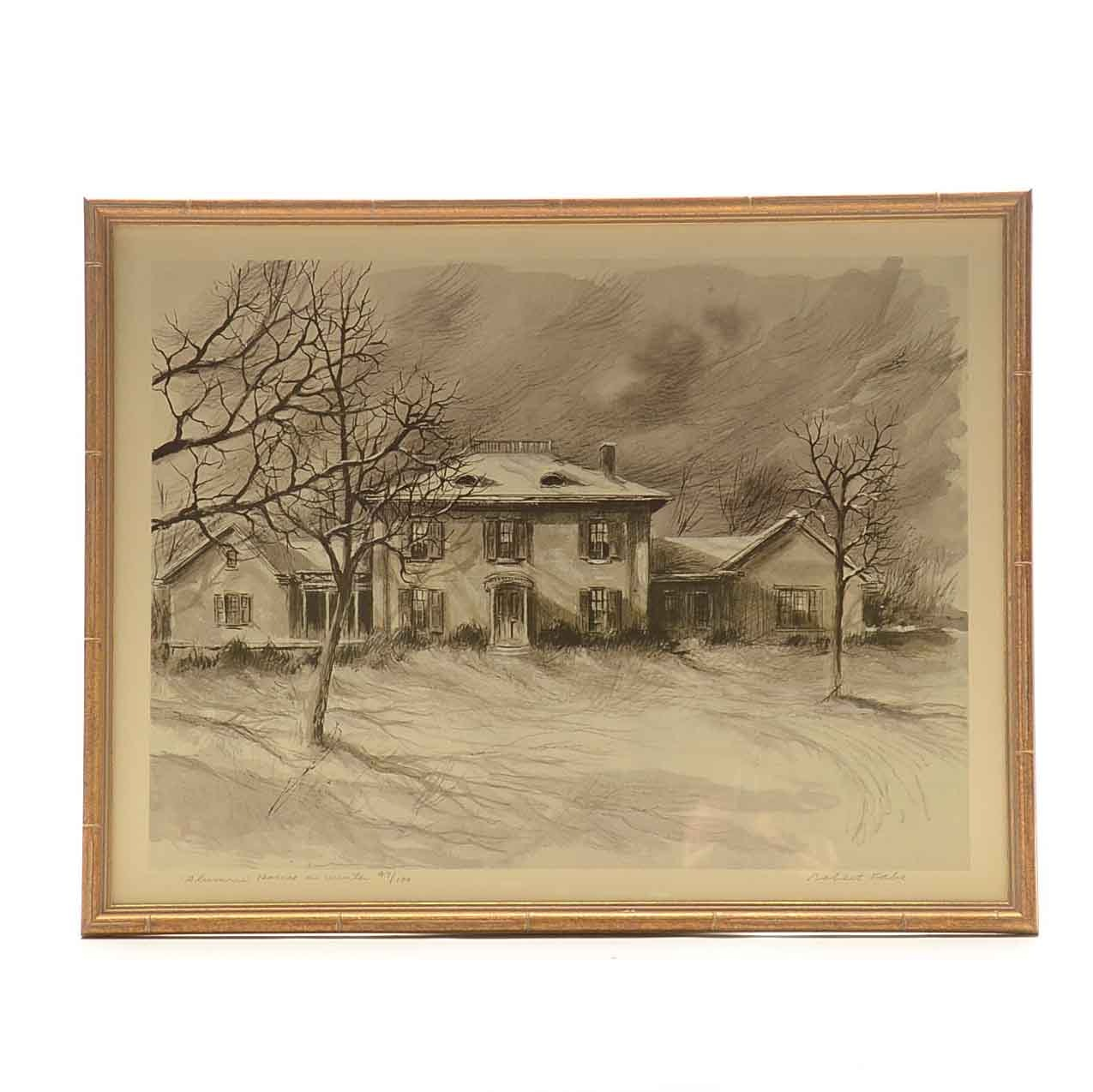 "Robert Fabe Limited Edition Offset Lithograph on Paper ""Alumni House in Winter"""