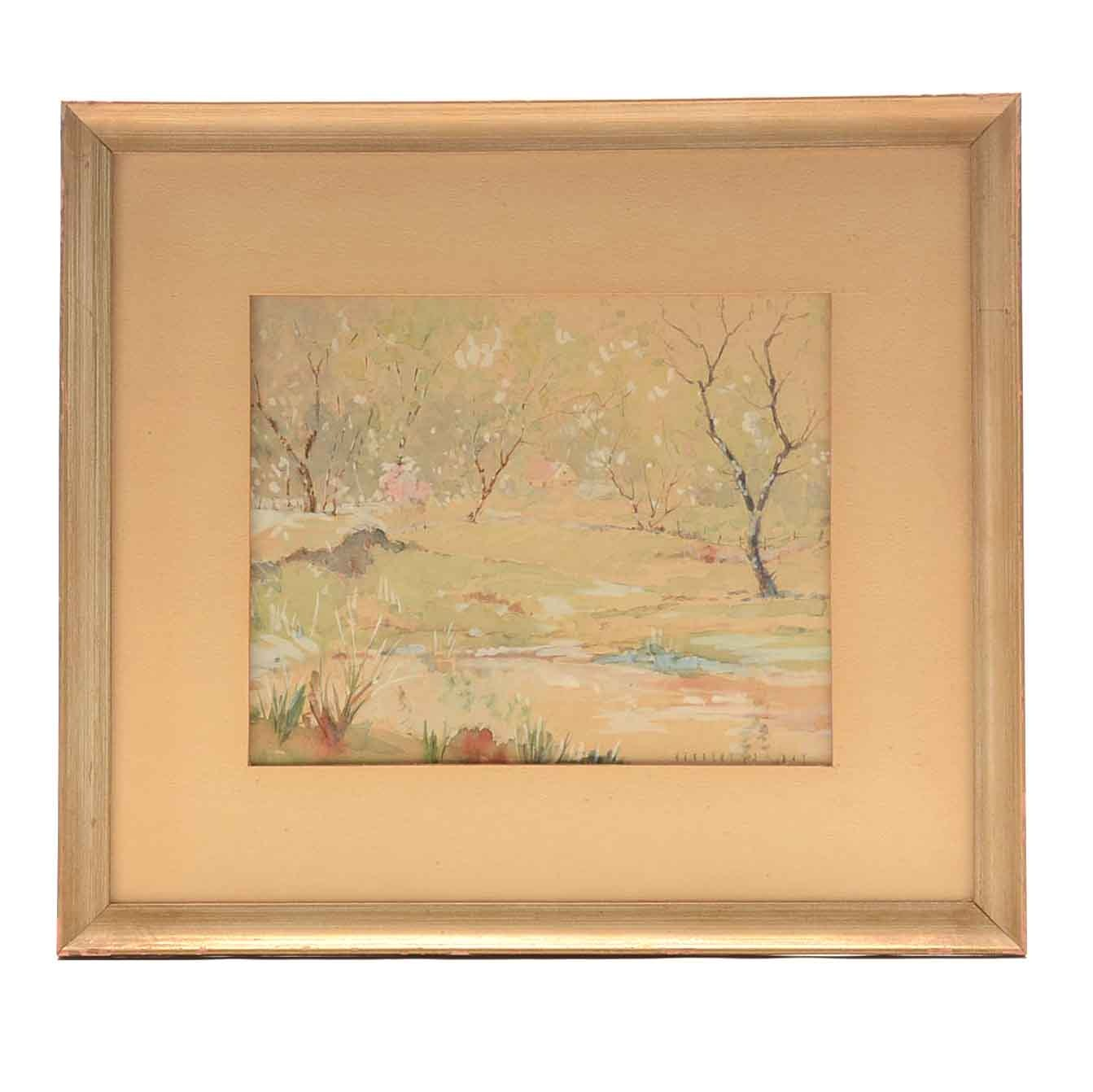 Herbert J. Day Watercolor Painting on Paper of Rural Landscape
