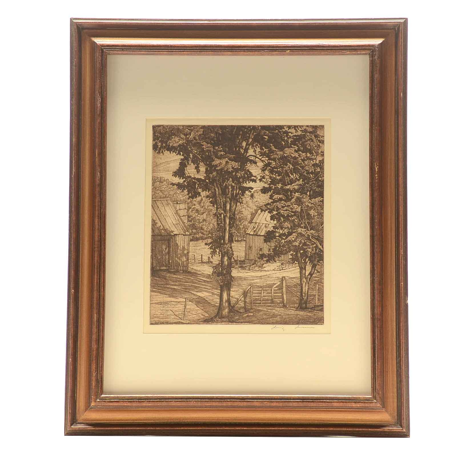 """Luigi Lucioni Limited Edition Etching on Paper """"Trees and Shadows"""""""
