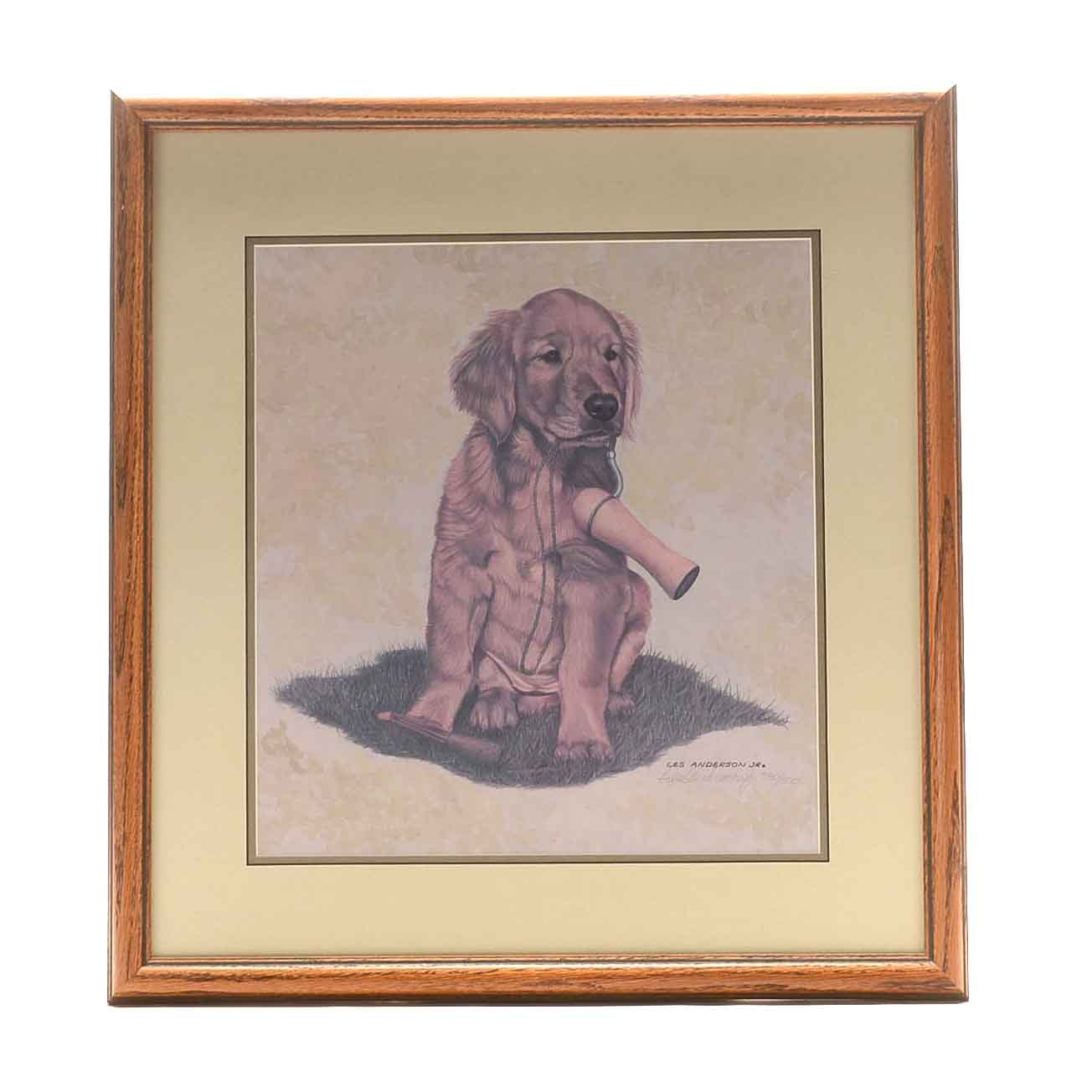 Les Anderson Jr. Limited Edition Offset Lithograph of a Dog