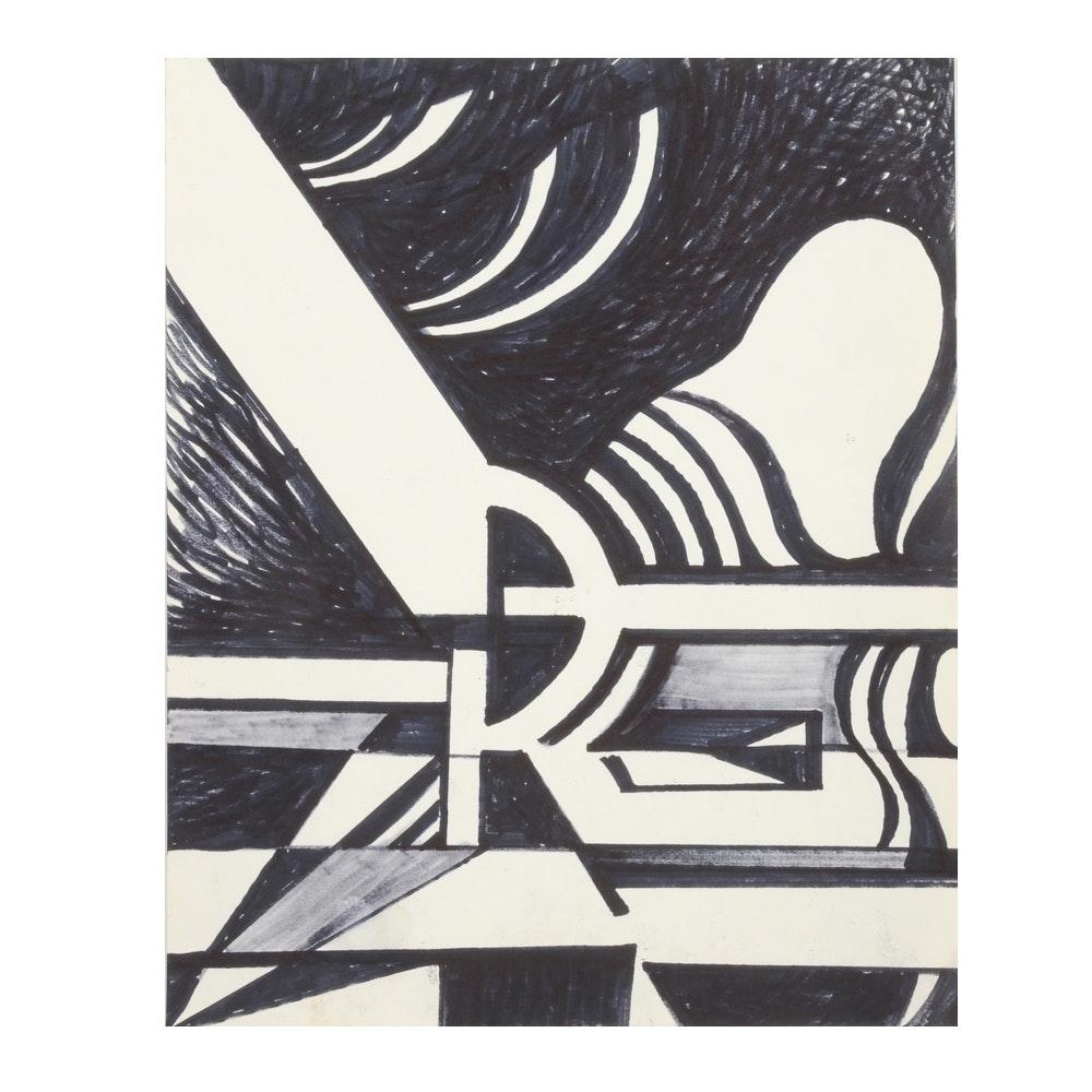 Carol J. Mathews Black and White Abstract Drawing
