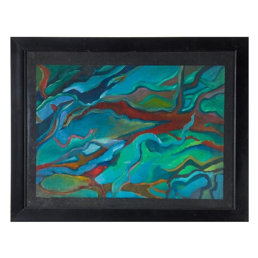 Carol J. Mathews Orignal Abstract Oil Painting on Paper