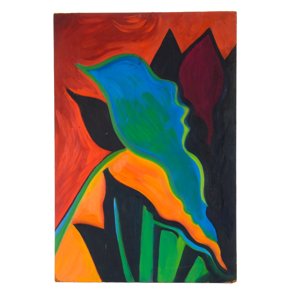 Carol J. Mathews Original Abstract Oil Painting on Pressed Board