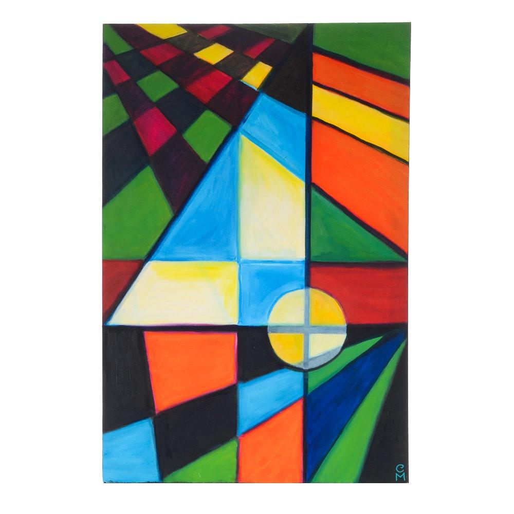 "Carol J. Mathews Original Oil Painting on Canvas of the Number ""4"""