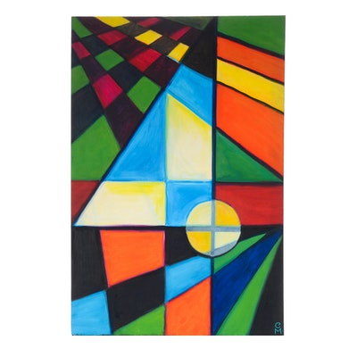 "Carol J. Mathews Original Oil Painting on Canvas of the Number ""4"""