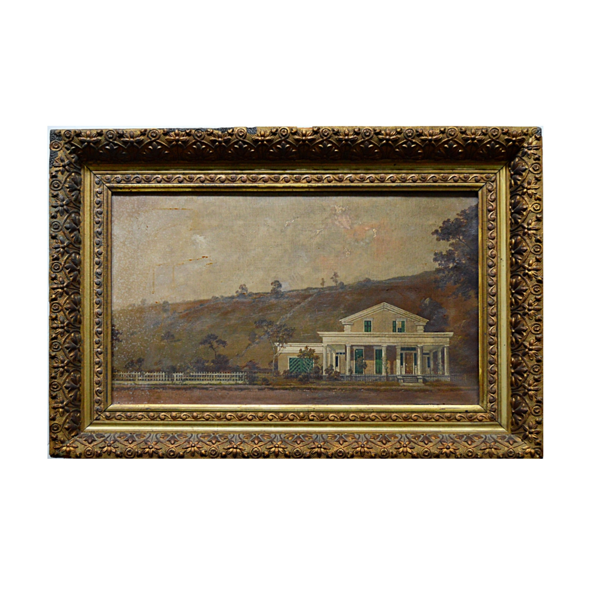 Antique Oil on Canvas of a 19th Century Greek Revival Texan Country Home