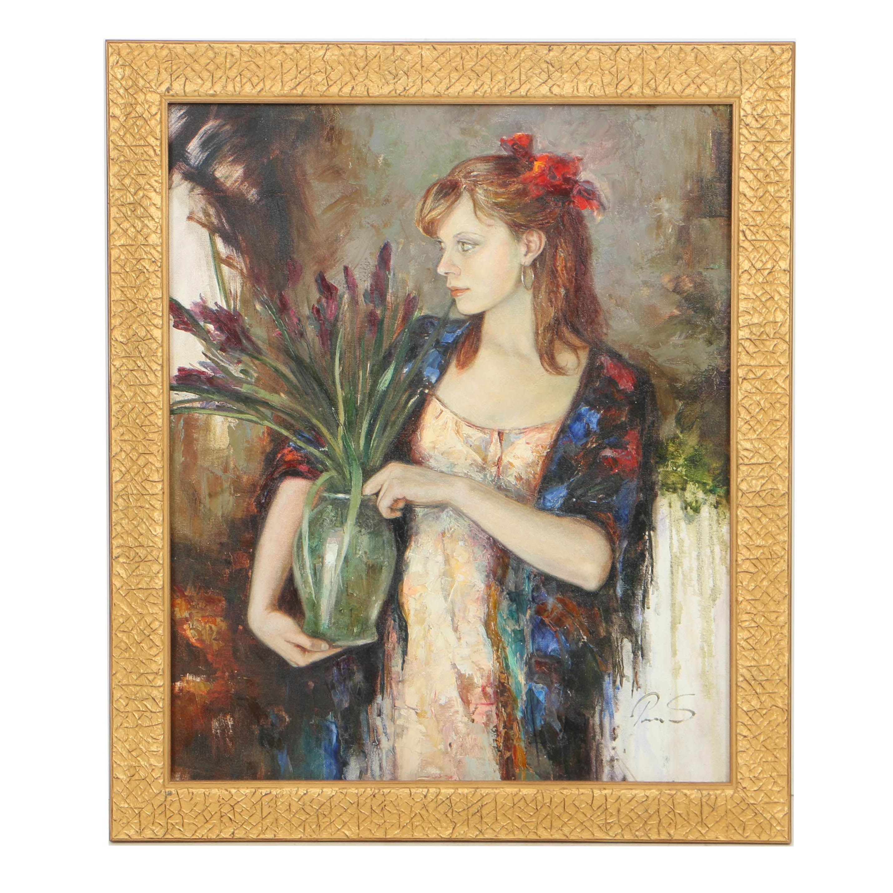 20th-Century Oil and Acrylic Painting on Canvas of Young Woman with Flowers