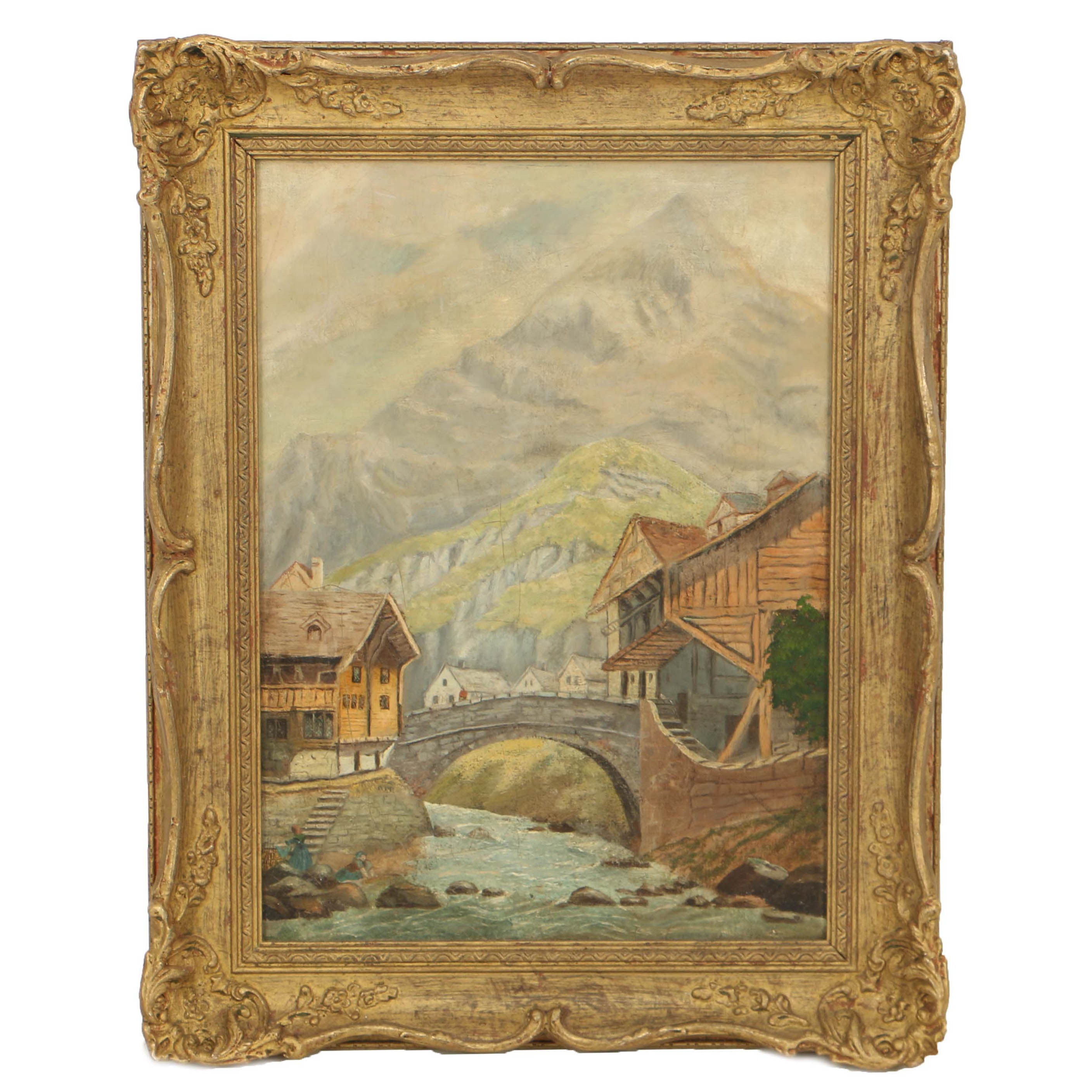 19th-Century Austrian School Oil Painting on Canvas of Alpine European Village