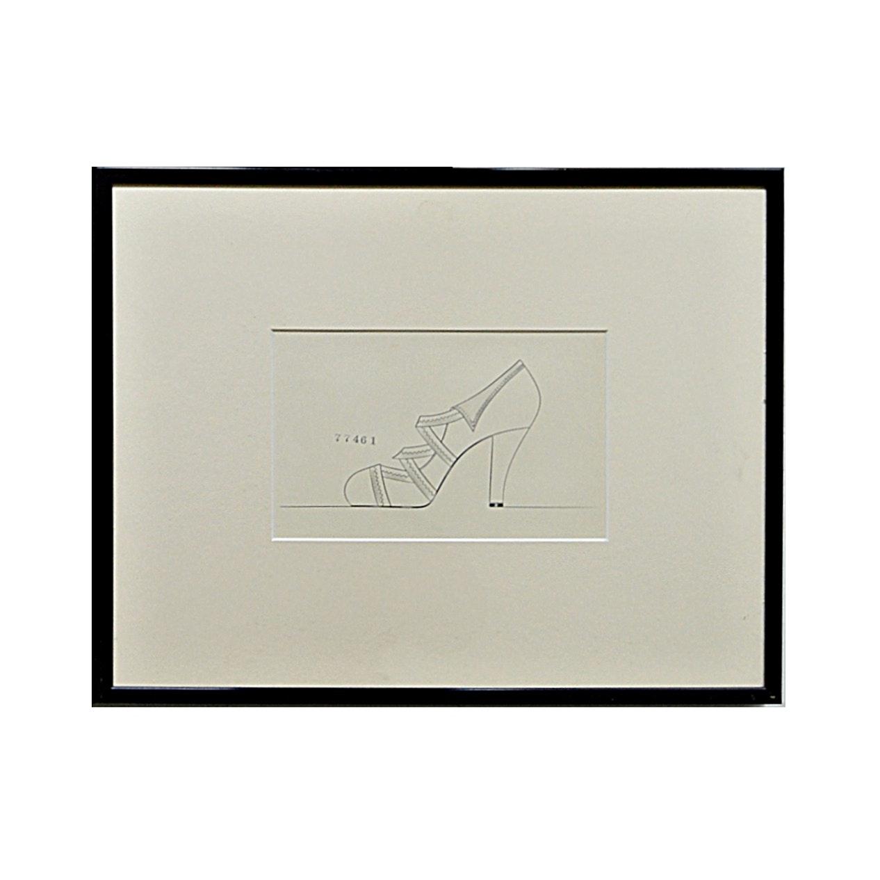 Original Pencil Rendering of a Vintage Shoe