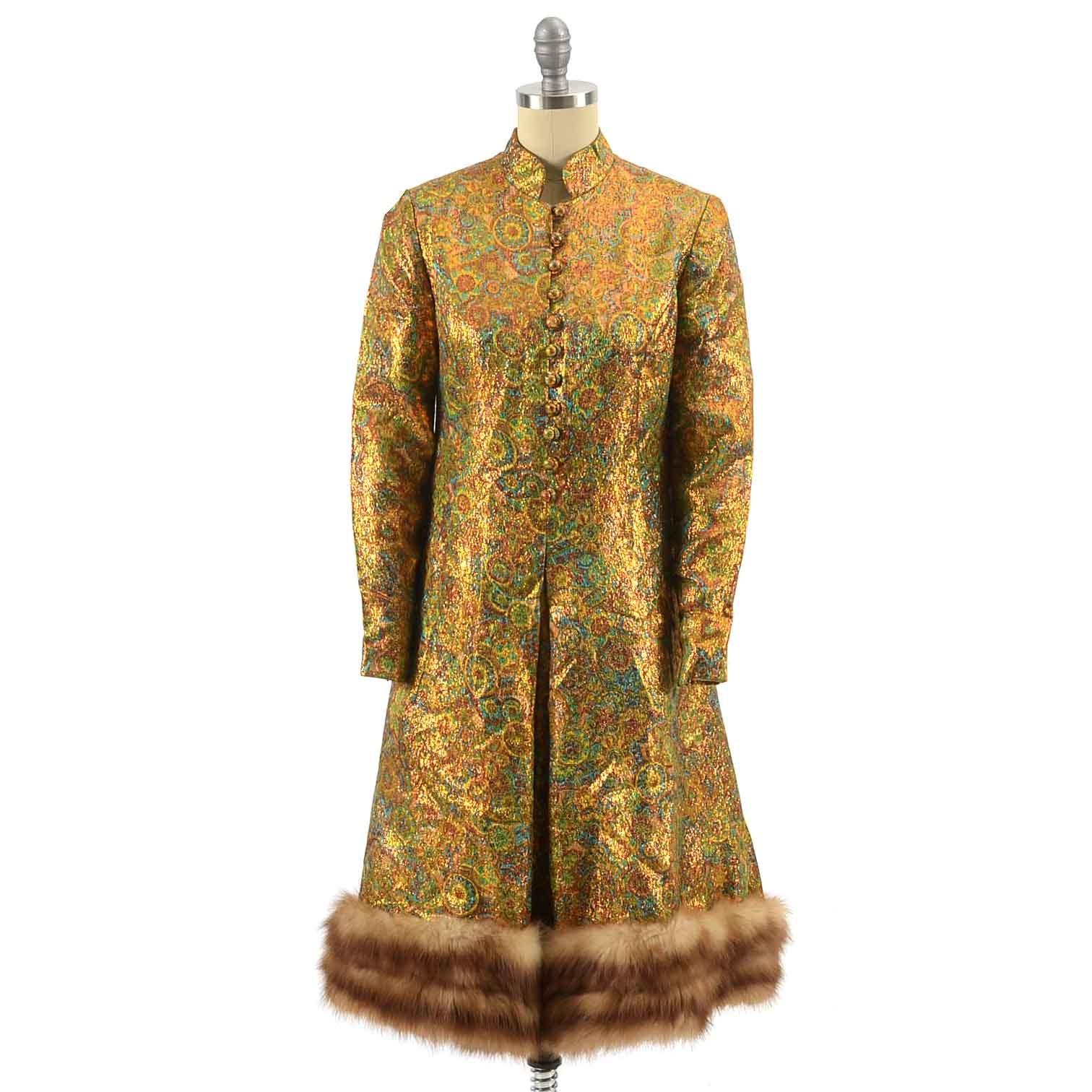 Vintage Chester Weinberg Dress with Faux Mink Fur Hem