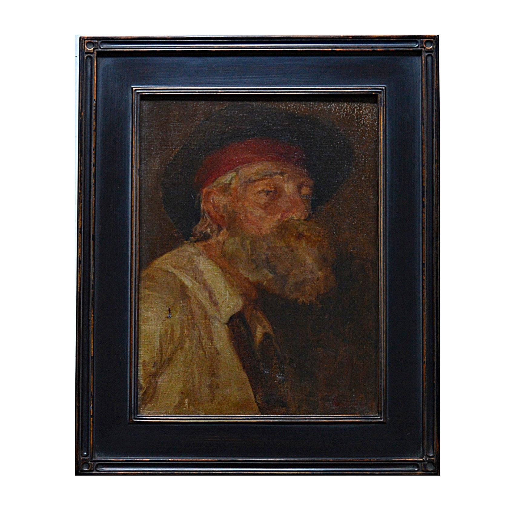 19th-Century Duveneck School/Munich School Oil on Canvas Portrait of a Man