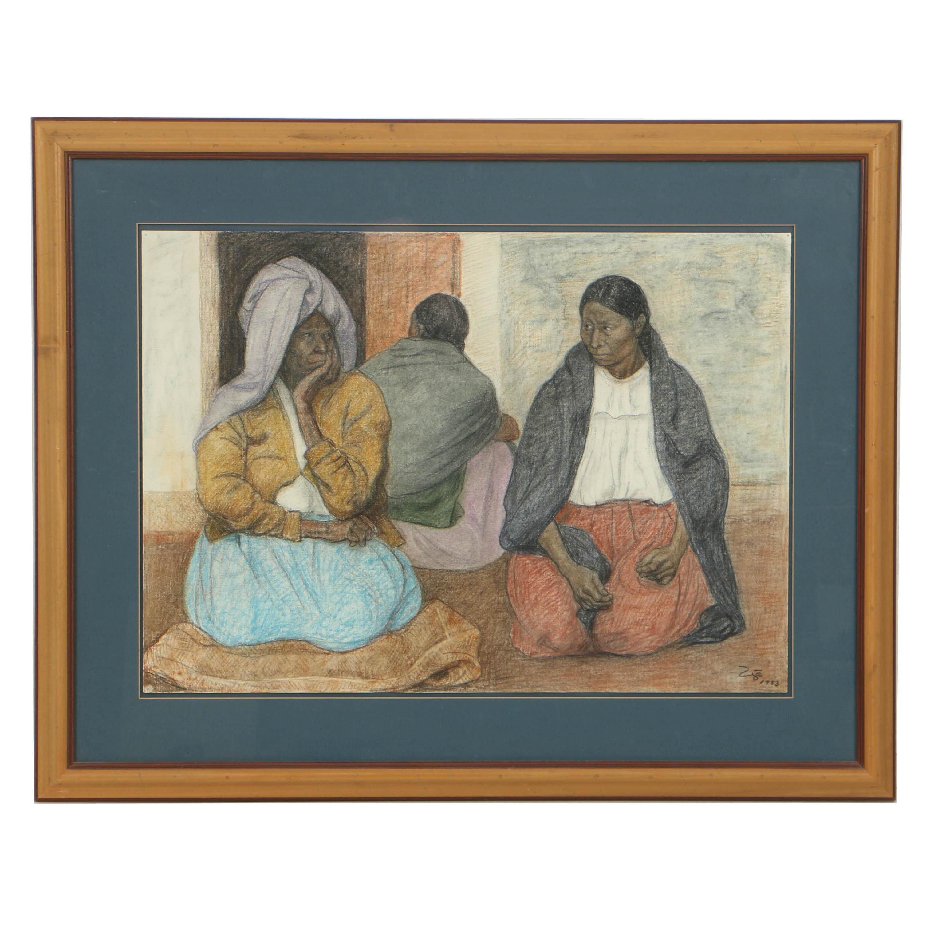 "Francisco Zúñiga Chalk Pastel on Paper ""Three Seated Women"""