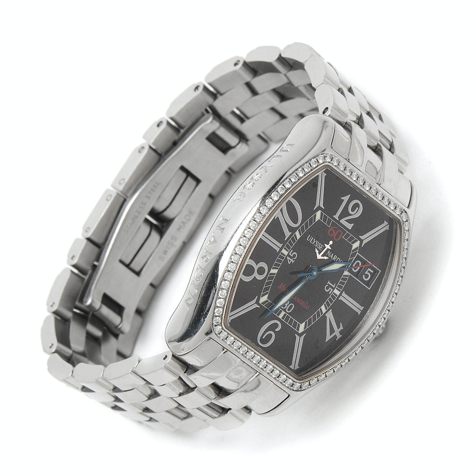 Ulysse Nardin Michelangelo Diamond Bezel Stainless Steel Automatic Wristwatch